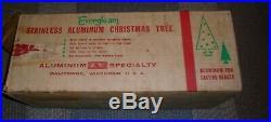 Vtg, Evergleam, 6 Ft, Stainless, Aluminum, Fountain, Pom Pom Christmas Tree, 94 Branch