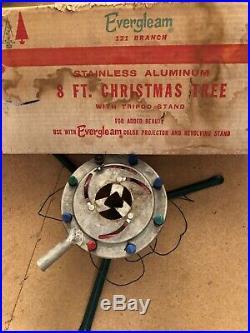 Vtg Evergleam 8 Ft Stainless Aluminum Christmas Tree 121 Branch Lite Up Stand