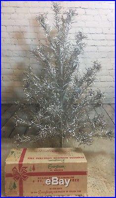 Vtg Evergleam Stainless Aluminum Christmas Tree 4 Box MCM Silver 55 Branch Pom