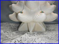 Vtg Extra Large White Ceramic Christmas Tree 31 Blue Bulbs Star Lights Tested