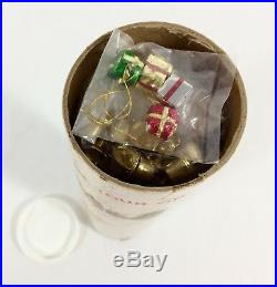 Vtg Feather Christmas Tree with Mini Ornaments 12 Tall In Mailer Tube Taiwan RARE