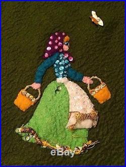Vtg Felt Christmas Tree Skirt Sequin 12 Days of Christmas Mid Century 1960s 51