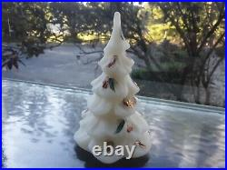 Vtg Fenton Christmas Tree Ivory Satin Glass Gold Partridge 6.25 Hand Painted