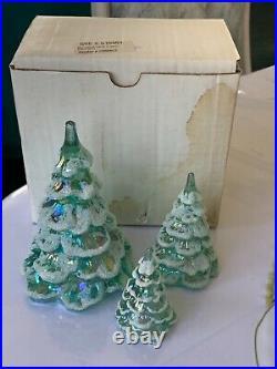 Vtg Fenton Iridescent Sea Mist Green Art Glass Xmas Tree Figurine Set Of 3 Qvc
