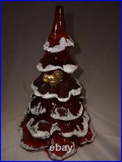 Vtg Fenton Ruby Red Snow Flocked Christmas Tree With Gold Squirel 6