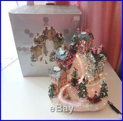 Vtg Fiber Optic Village Houses Horse w Sleigh Xmas Tree Sparkle Snow w Box RARE