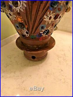 Vtg Folk Art Mexican Pottery Terracotta Lamp Lantern Christmas Tree Light Candle