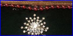 Vtg Framed Costume Jewelry Christmas Tree Pin Art Rhinestones Brooch Picture