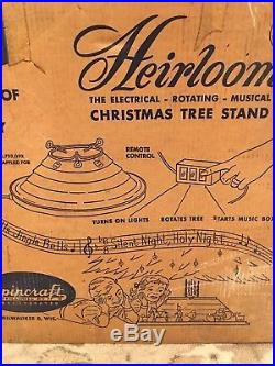 Vtg GOLD Spincraft Heirloom LIGHTING ROTATING MUSICAL Christmas Tree Stand