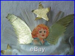 Vtg Genuine National Tinsel Co Spun Glass Angel Hair Christmas Tree Topper