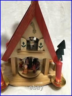 Vtg German Wooden Christmas Tree Pyramid Ornament candles Hand Carved Figurines