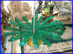 Vtg Green 7 FT Stainless Aluminum Holiday Christmas Tree Revolving Musical Stand