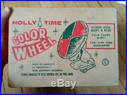 Vtg HOLLY TIME 12 Aluminum Christmas Tree Color Wheel Near Mint Works XMAS NOS