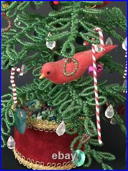 Vtg Hand Beaded Christmas Tree with Ornaments Red Feather Birds 12 Folk Art