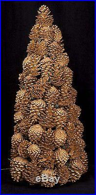 Vtg Hand Made Gold Painted Lighted REAL Pine Cones Christmas Tree SEE VIDEO