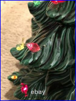 Vtg Hand Painted Two Piece Ceramic Table Top Christmas Tree Colored Lights 24H