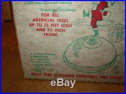 Vtg Holly Time Revolving Aluminum Christmas Tree Stand Starburst Turner Electric