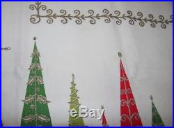Vtg Htf Atomic MID Century Linen Christmas Tablecloth Retro Stylized Tree Gold