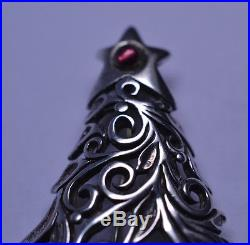 Vtg Jezlaine Sterling Silver Openwork Christmas Tree Pin & Wreath Gift Cndy Cane