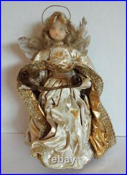 Vtg LEIDEL SPREEN Gold Wax Angel Velvet Christmas Tree Topper 12.5 Germany Box