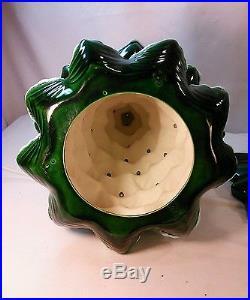 Vtg LG Mid-Cent Ceramic Art Christmas Tree Snow Lighted Bulb RARE White Star 2pc