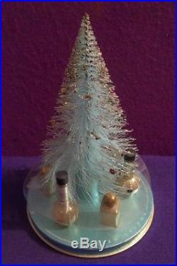 Vtg LUCIEN LELONG CHRISTMAS DISPLAY mini gold perfume bottle TREE ORNAMENT old