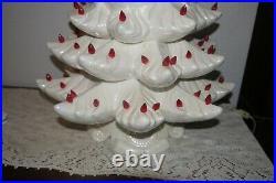 Vtg Large Atlantic Mold 22-1/2 Ceramic Iridescent Christmas Tree Red Lights