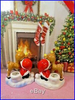 Vtg Lefton Christmas SANTA Pixie Elves W Reindeer Candle Holders W Frosted TREES