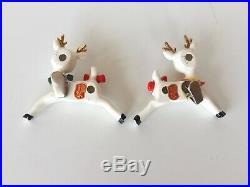 Vtg Lefton boy & girl flirting reindeer Christmas tree clip ornaments Japan