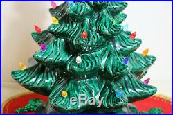 Vtg Lighted 2 Pc Atlantic Mold Ceramic Christmas Tree 17.5 Two Sets Of Bulbs
