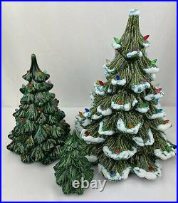 Vtg Lot Of 3 Ceramic Holland Mold FLOCKED SNOW Christmas Tree 14 Inches