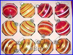 Vtg Mercury Glass Shiny Brite Christmas Tree Ornaments Colored Candy Stripe BoxC