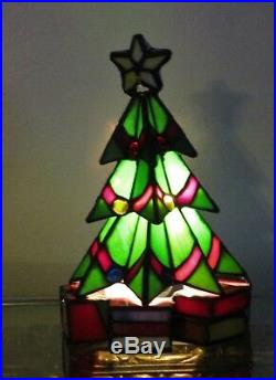 Vtg Meyda Tiffany Christmas Tree Leaded Stained Glass Accent Lamp Lite New Iob