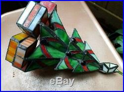 Vtg Meyda Tiffany Style Christmas Tree Leaded Stained Glass Lamp Lite Base