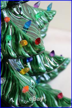 Vtg Mid Century Atlantic Mold 23 Lighted Ceramic Christmas Tree Excellent 1971