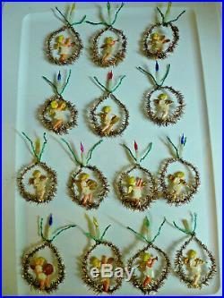 Vtg Mini Feather Tree Plastic Angel Musician Xmas Ornaments Tinsel Ring Candles