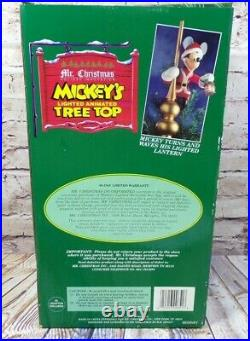 Vtg Mr. Christmas Mickey Mouse Animated Lighted Tree Topper With Box 1994 Top