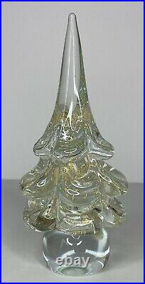 Vtg Murano Art Glass Christmas Tree Gold Aventurine Italy Original Sticker 8