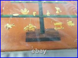 Vtg NOS Sevi Wooden Christmas Tree Candle Holder With Ornaments Made in Italy