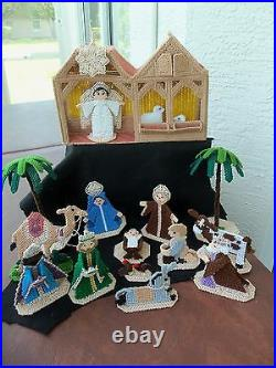 Vtg Nativity Cross Stitch Completed Set! 18 PIECES! MANGER! FIGURES! TREES