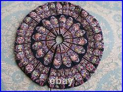 Vtg Needlepoint Christmas Tree Skirt Boho Wool Tapestry Ornaments 42 D