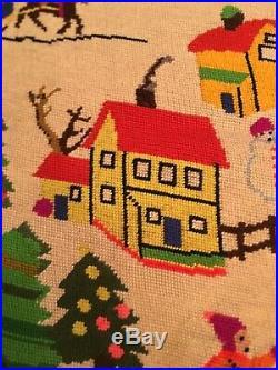 Vtg Needlepoint Folk Art Christmas Trees Skiing House Finished Wall Art Adorable