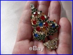Vtg Older Warner Multi Color Rhinestone Christmas Tree Brooch Pin Signed