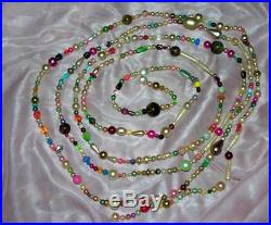 Vtg One-of-a-kind Folk Art Xmas Tree Garland 1950's Necklace Beads, 11.5 Ft