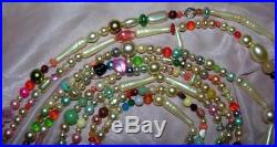 Vtg One-of-a-kind Folk Art Xmas Tree Garland 1950's Necklace Beads, 13 Ft