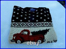 Vtg POLO Ralph Lauren RL 92 Hand Knit Men L/XL Xmas Tree Pick Up Truck Sweater