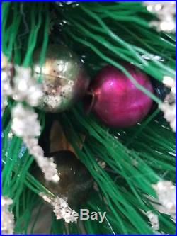Vtg Pair 13 Christmas Bottle Brush Tree Table Displays Miniature Glass Bulbs
