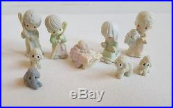 Vtg Precious Moments 14 Mini Pewter Camel Donkey Cow Nativity Wall Palm Tree IOB