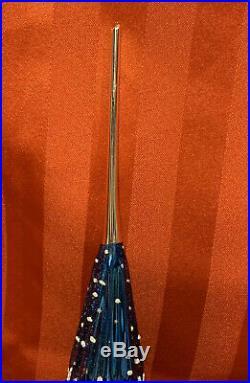 Vtg Quadruple Triple Indent Finial Spiral Tree Topper Glass Christmas Ornament