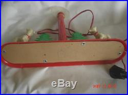 Vtg ROYAL ELECTRIC PLASTIC XMAS CANDLE with DEER & TREES CENTERPIECE DECOR Works